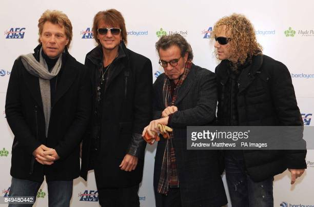 Members of Bon Jovi, Jon Bon Jovi, Richie Sambora, Tico Torres and David Bryan , during a Press Conference at the Mandarin Oriental where they are...