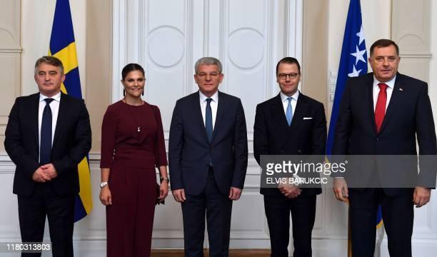 Members of Bosnia and Herzegovina's tripartite presidency Zeljko Komsic Sefik Dzaferovic and Milorad Dodik pose for family photo with Crown Princess...