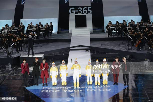 Members of boy band B1A4 and Magnus Kim attend the PyeongChang 2018 One Year to Go Ceremony at Gangneung Hockey Center on February 9 2017 in...
