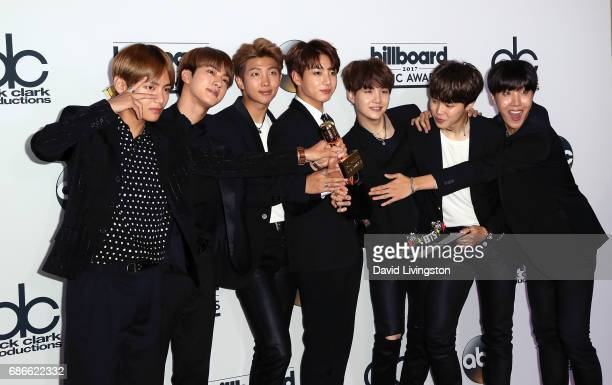 Members of boy band BTS attend the press room at the 2017 Billboard Music Awards at TMobile Arena on May 21 2017 in Las Vegas Nevada