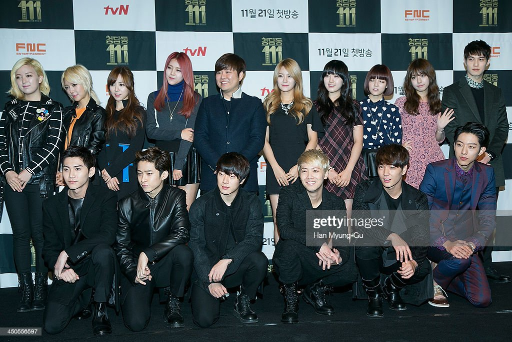 Members of boy band CNBLUE, FTisland, girl group AOA (Ace of Angels), Juniel and Han Sung-Ho, Music producer of FNC Entertainment attend tvN Drama 'Cheongdamdong 111' press conference at CGV on November 18, 2013 in Seoul, South Korea.
