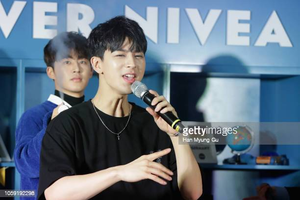 Members of boy band iKON perform onstage during the NIVEA HAUS PopUp Store Opening Party on November 8 2018 in Seoul South Korea