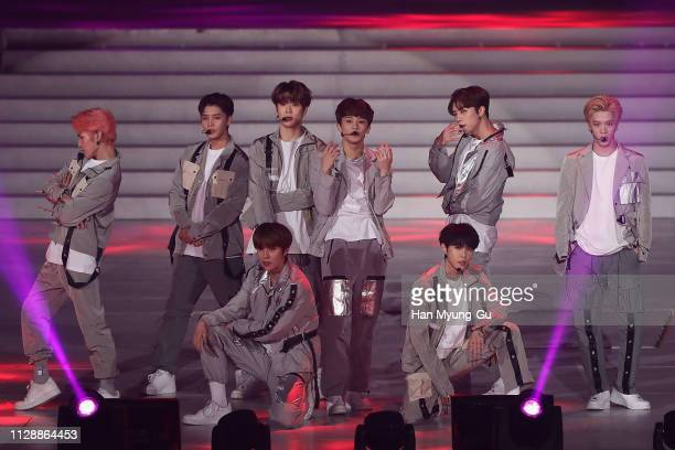 Members of boy band NCT 127 performs onstage during the PyeongChang 2018 Olympic and Paralympic Winter Games 1st Anniversary Festival In Gangneung on...
