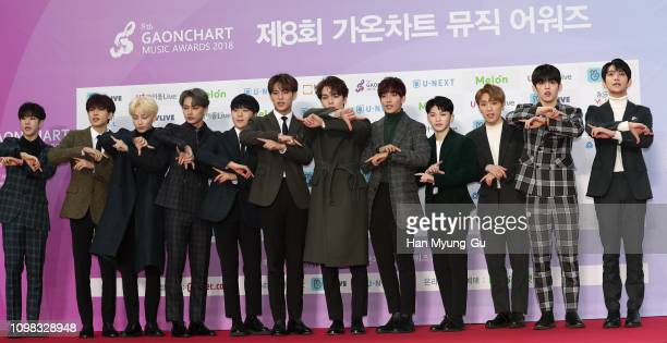 Members of Boy band Seventeen attend the 8th Gaon Chart K-Pop Awards on January 23, 2019 in Seoul, South Korea.