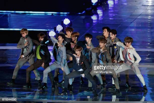 Members of boy band Wanna One perform on stage during the G100 Dream Concert on November 4 2017 in Pyeongchanggun South Korea