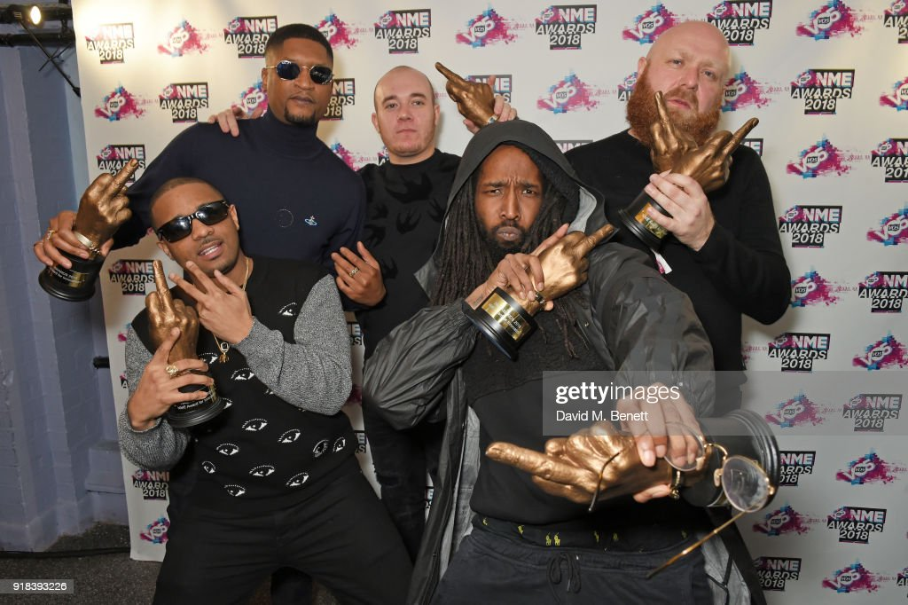 Members of 'Boy Better Know' in the winners room during the VO5 NME Awards held at Brixton Academy on February 14, 2018 in London, England.