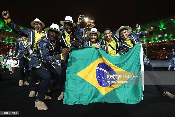 Members of Brazil team enter the stadium during the Opening Ceremony of the Rio 2016 Paralympic Games at Maracana Stadium on September 7, 2016 in Rio...