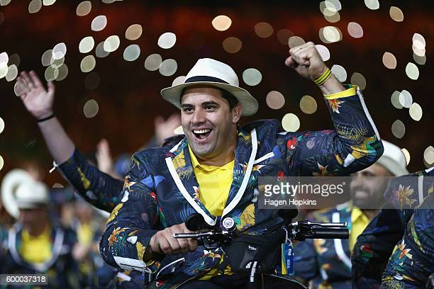 Members of Brazil team enter the stadium during the Opening Ceremony of the Rio 2016 Paralympic Games at Maracana Stadium on September 7 2016 in Rio...