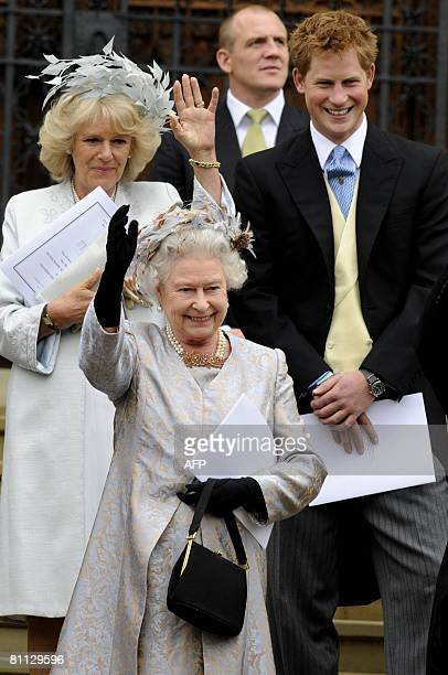 Members of Britains royal family, Prince Harry , Queen Elizabeth II and Britain's Prince Charles' wife Camilla leave St George's Chapel in Windsor on...