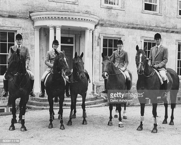 Members of Britain's three day equestrian event team on horseback Christopher Collins on Smokey VI Lucinda PriorPalmer on Village Gossip horse...