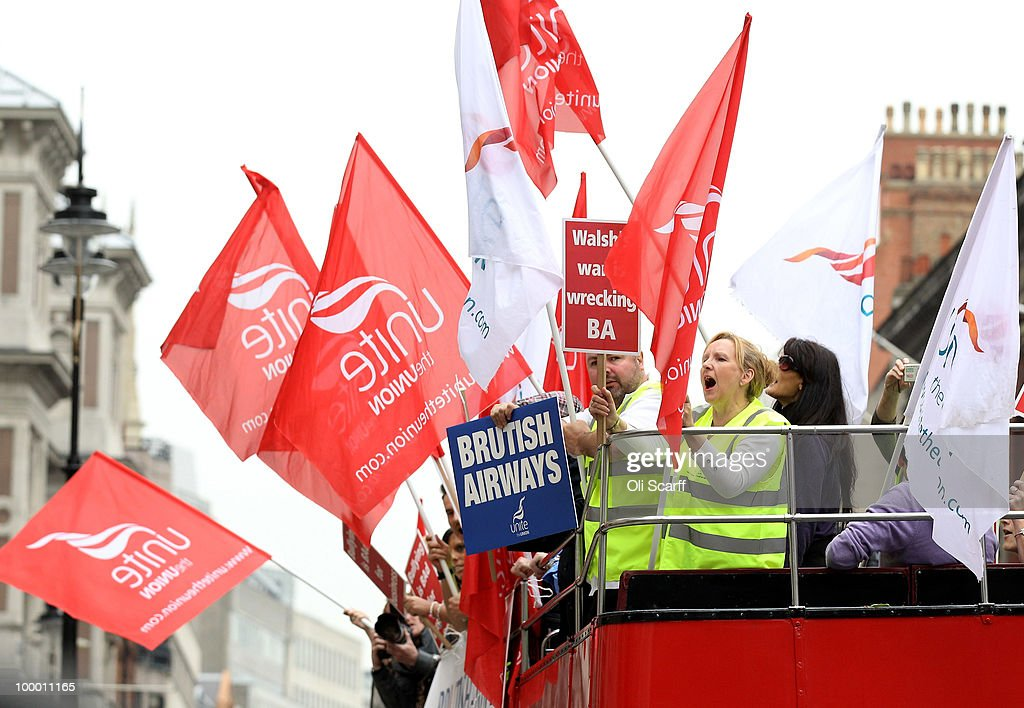 Members of British Airways cabin crew campaign from an open top bus as they await Unite's High Court appeal on a ban on strike action by BA cabin crew outside the High Court on May 20, 2010 in London, England. The High Court had previously granted British Airways an injunction against industrial action by cabin crew over failings by the Unite union in their reporting of the results of its strike ballot to members.