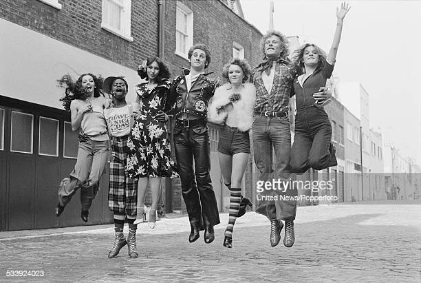 Members of British dance troupe Ruby Flipper pictured together in a London mews on 7th May 1976 From left to right Cherry Gillespie Floyd Pearce...