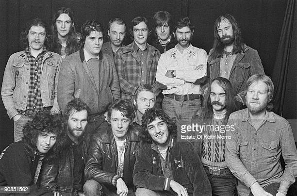 Members of British pub rock groups Brinsley Schwarz, Chilli Willi & The Red Hot Peppers and Ace, 1974. All three bands are managed by Jake Riviera,...