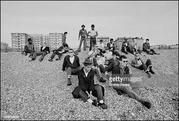 Members of British ska groups The Selecter Madness and The Specials congregate on Brighton Beach during the 2 Tone Tour October 1979 LR Charlie...