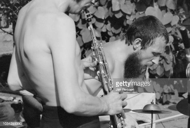 Members of British Spontaneous Music Ensemble Trevor Waits and John Stevens performing at Montreux Jazz Festival Switzerland 1970