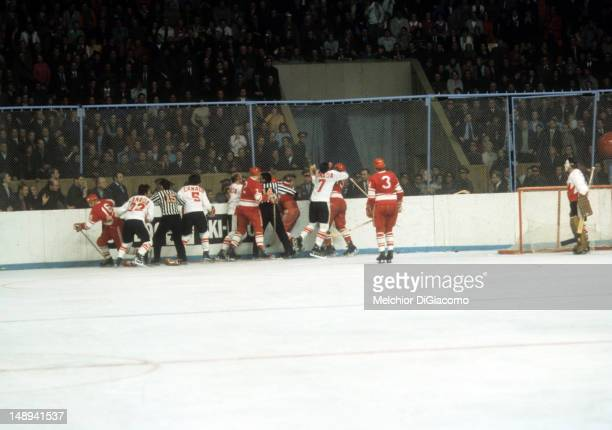 Members of Canada and the Soviet Union fight during Game 7 of the 1972 Summit Series on September 26 1972 at the Luzhniki Ice Palace in Moscow Russia