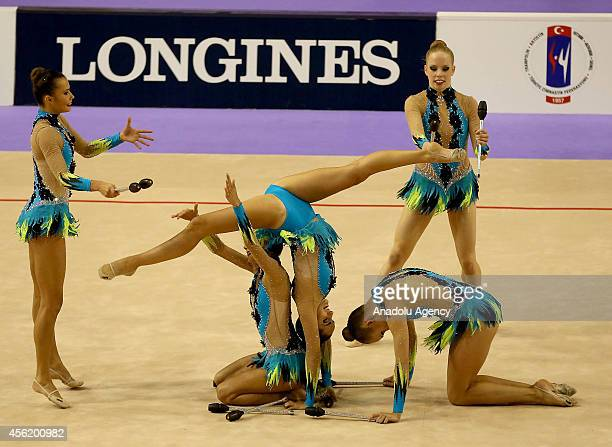 Members of Canada's rhythmic gymnastics team compete during the 33rd Rhythmic Gymnastics World Championships in Izmir Turkey on September 27 2014