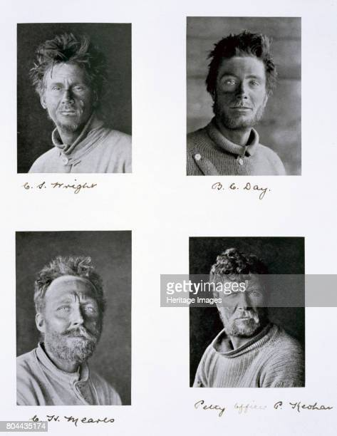 Members of Captain Scott's Antarctic expedition, 1910-1913. Four members of the 'Terra Nova' expedition to the South Pole. Charles S Wright, Bernard...