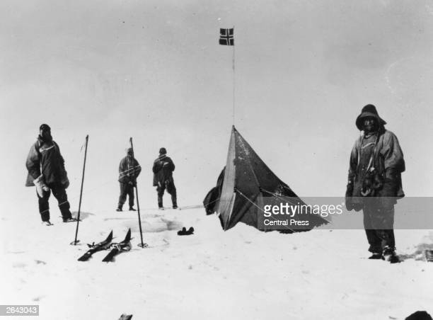 Members of Captain Scott's party discover the tent of Roald Amundsen the Norwegian explorer at the South Pole