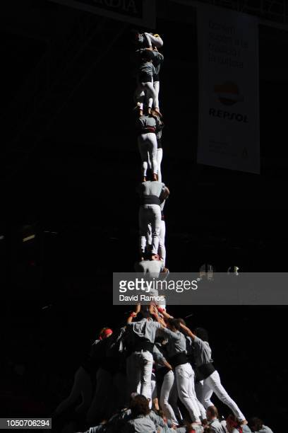 Members of Castellers de Sants build a human tower during the 27th Tarragona Competition on October 07 2018 in Tarragona Spain The 'Castellers' who...