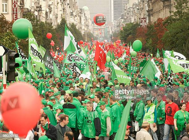 OCTOBER 28 Members of Catholic socialist and liberal unions participate in a mass demonstration on October 28 2005 in Brussels Belgium The general...
