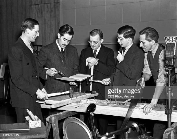Members of CBS Radios' Columbia Workshop sound effects including figure 1 unidentified William N Robson director figure 3 unidentified Bernard...