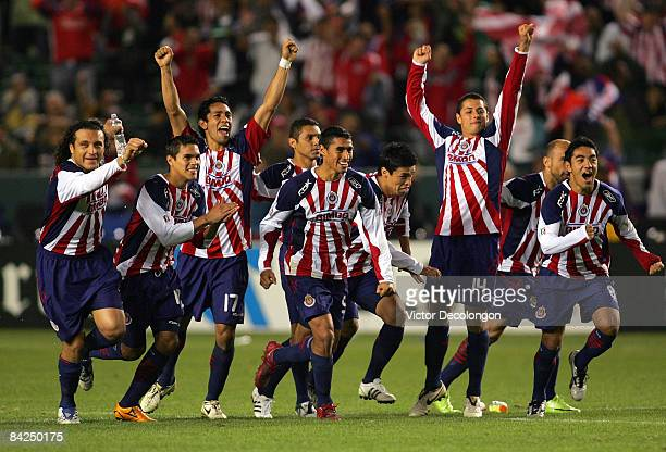 Members of CD Chivas de Guadalajara team celebrate after winning their match 4-2 on penalty kicks against Morelia after a 1-1 draw in regulation time...