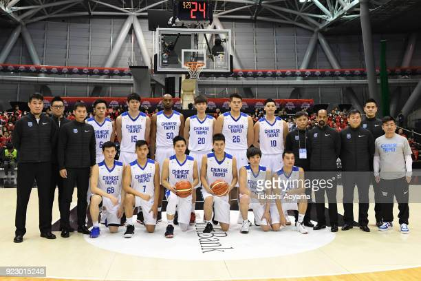 Members of Chinese Taipei national team line up for team photo prior to the FIBA World Cup Asian Qualification Group B match between Japan and...