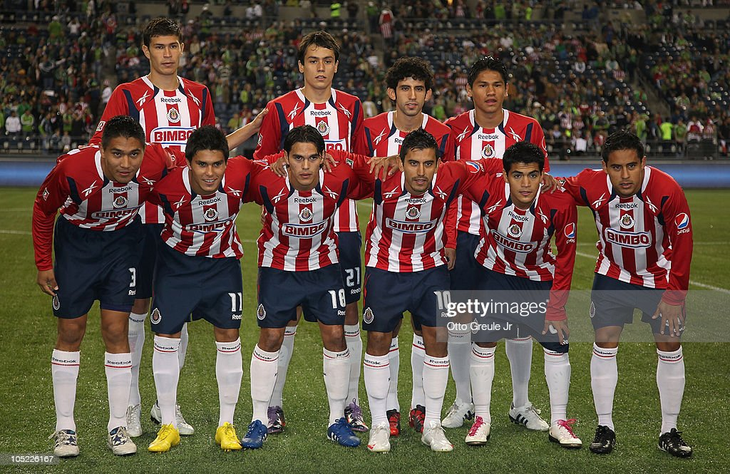 Members of Chivas de Guadalajara pose for the team photo prior to the game against the Seattle Sounders FC on October 12, 2010 at Qwest Field in Seattle, Washington. The Sounders defeated Chivas de Guadalajara 3-1.