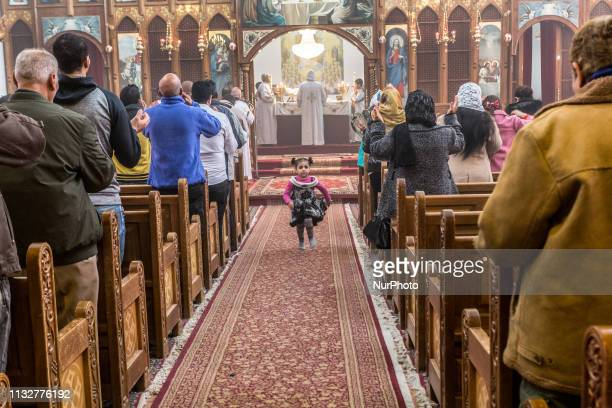 Members of Christian Coptic community attend Sunday Mass in Coptic Church in Amman, Jordan on March 24, 2019. Christians in Jordan constitute about 4...