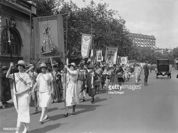Members of Christian suffragist groups at Victoria Embankment during the Equal Political Rights Demonstration London 3rd July 1926 Forty different...