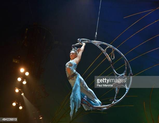 Members of Cirque du Soleil perform during the dress rehearsal of 'Amaluna' at Marine Industrial Park on May 28 2014 in Boston Massachusetts