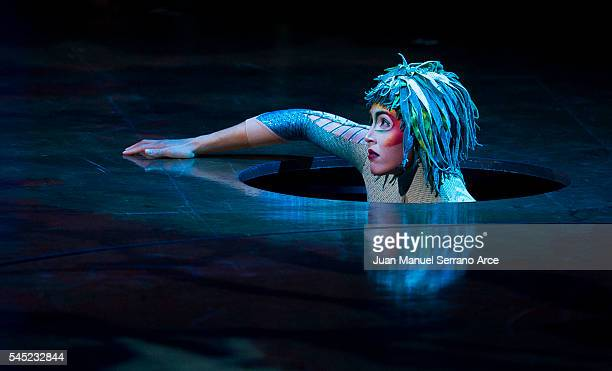 Members of Cirque du Soleil perform during the dress rehearsal of 'Varekai' at Palacio Deportes on July 6 2016 in Santander Spain