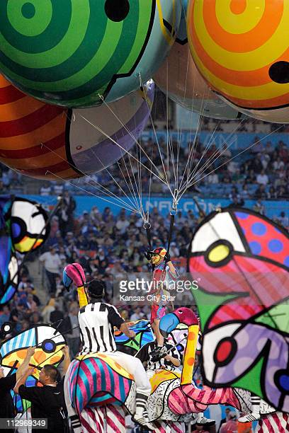 Members of Cirque du Soleil perform in the pregame at Super Bowl XLI in Miami Florida on Sunday February 4 2007
