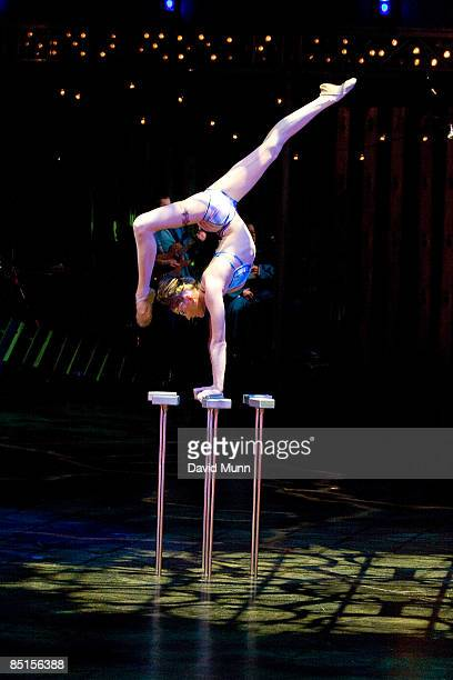Members of Cirque du Soleil perform Quidam at the Liverpool Echo Arena on February 26 2009 in Liverpool England