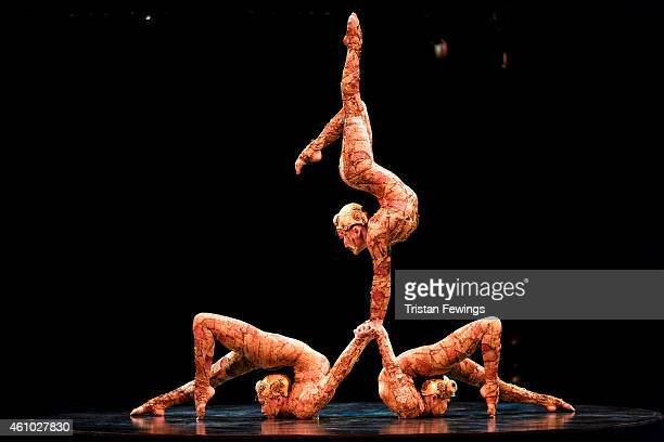 Members of Cirque Du Soleil perform the contortion act during the dress rehearsal for Kooza by Cirque Du Soleil at Royal Albert Hall on January 4...