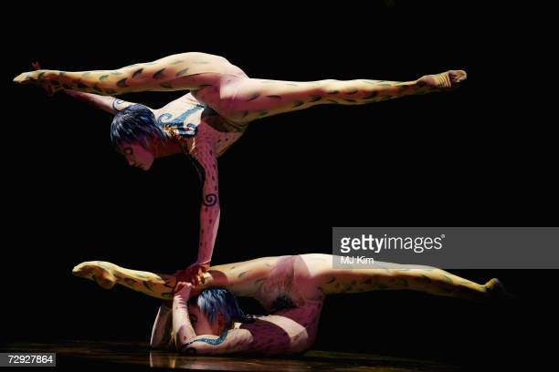 Members of Cirque du Soleil perform their new show Alegria at Royal Albert Hall January 04 2007 in London England