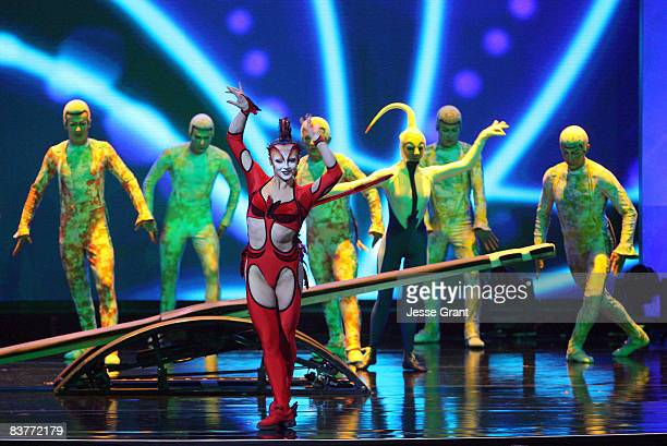 Members of Cirque du Soleil's 'Mystere' perform the Korean Plank Act on stage at Ellen's Even Bigger Really Big Show during The Comedy Festival 2008...