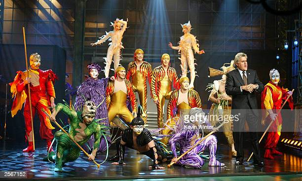 Members of Cirque Du Soleil's 'Varekai' perform on 'The Tonight Show with Jay Leno' at the NBC Studios on October 6 2003 in Burbank California