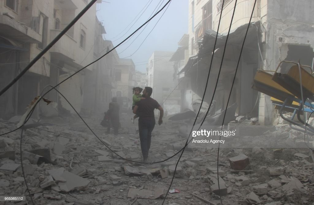 Airstrike kills 4 in Syria's Idlib : News Photo