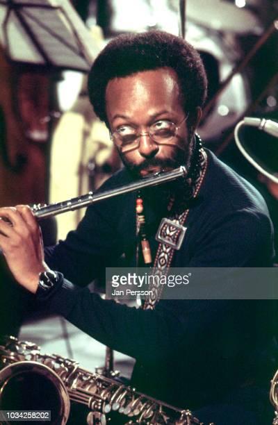 Members of Clark Terry Big Band in TV studio Copenhagen Denmark July 1973 Here American jazz saxophonist Jimmy Heath