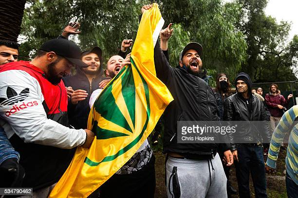 Members of Coburgs commmunity bait members of the True Blue Crew in front of police lines after stealing the United Patriots Front Flag in Coburg on...