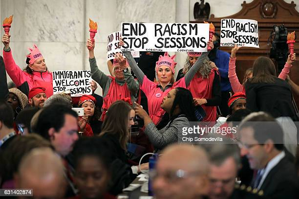 Members of Code Pink for Peace protest against Sen Jeff Sessions to be the US Attorney General during his confirmation hearing before the Senate...