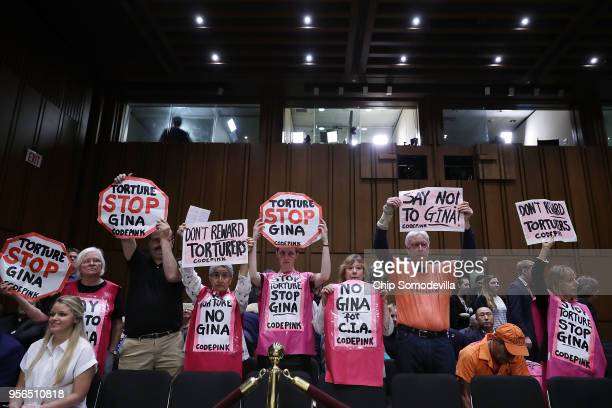 Members of Code Pink for Peace protest before Central Intelligence Agency acting Director Gina Haspel's confirmation hearing to become the next CIA...
