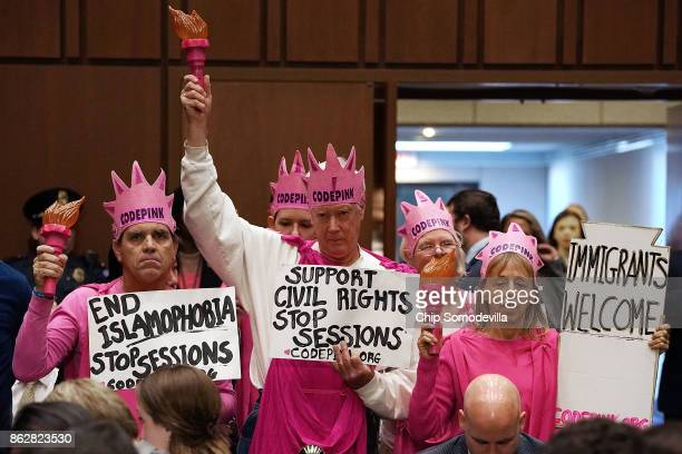 Members of Code Pink for Peace protest before the start of a hearing where US Attorney General Jeff Sessions will testify to the Senate Judiciary...
