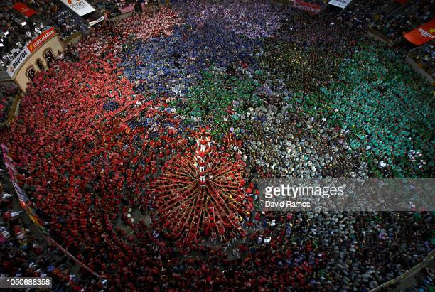Members of Colla Joves Xiquets de Valls build a human tower during the 27th Tarragona Competition on October 07 2018 in Tarragona Spain The...