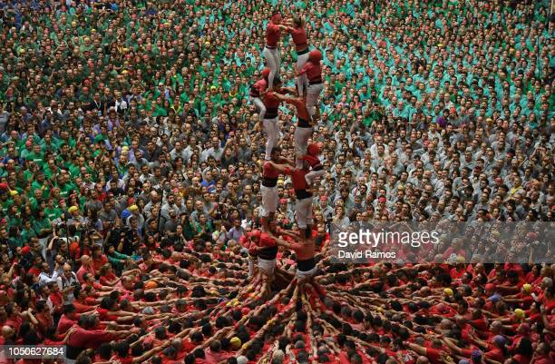 Members of Colla Joves Xiquets de Valls built a human tower during the 27th Tarragona Competition on October 07 2018 in Tarragona Spain The...