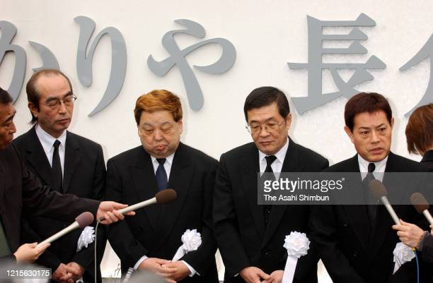 Members of comedian group The Drifters Ken Shimura Bu Takagi Koji Nakamoto Cha Kato speak to the media at press conference prior to the funeral of...