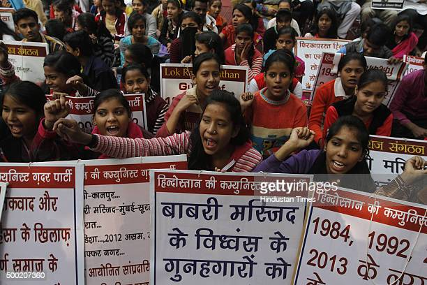 Members of Communist Ghadar Party of India protest on the anniversary of Babri Masjid demolition at Jantar Mantar on December 6 2015 in New Delhi...