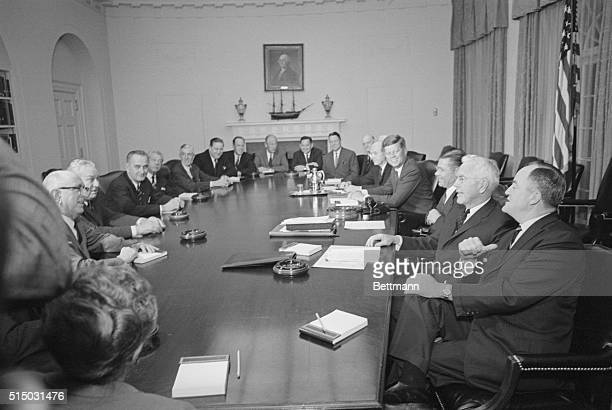 Members of Congress are briefed at the White House by President Kennedy on international affairs The members present are Senator Richard B Russell...